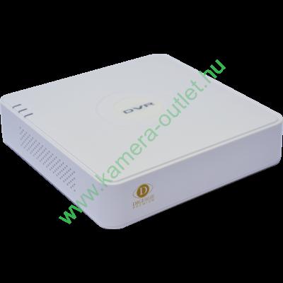DIGICAM DPA-04100L PREMIUM 4 cs. H.264 DVR, 960H, támogatott felbontás:  WD1@25fps, HDMI/VGA, 2db USB, 1db SATA, 1db hangcsatorna, 10/100 LAN, gyári DDNS, egér, 12V DC, ventilátor nélkül, fehér