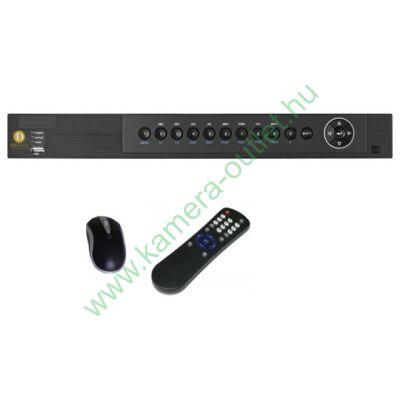 DIGICAM DPT-8200MA PREMIUM 8+2 csatornás rögzítő 8db HD-TVI/analóg és 2db 2Mpixeles IP kamera kezelése, VGA, HDMI, audio kimenetek, 2db USB, Riasztási ki-bemenetek, gyári DDNS, egér, távirányító