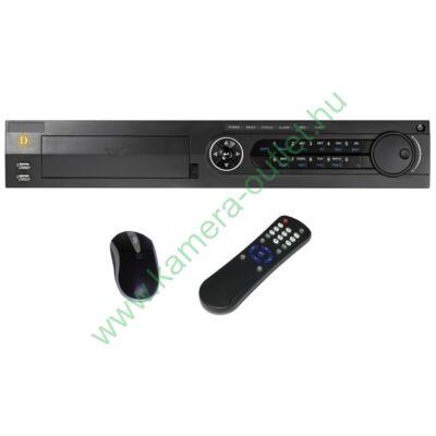 DIGICAM DPT-896HA PREMIUM 8+2 csatornás rögzítő 8db HD-TVI/analóg és 2db 2Mpixel IP kamera kezelése (vagy 10 db IP kamera), VGA, HDMI, audio kimenetek, eSATA, 3db USB, Riasztási ki bemenetek, Gigabit LAN, gyári DDNS, egér, távirányító