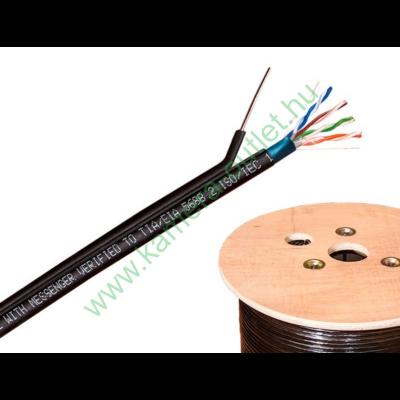 FTP kábel fali CAT5, kültéri időjárásálló, UV álló, acél feszítőszállal, 500m-es fa dobon