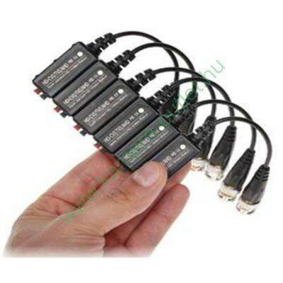 1 csatornás balun+földhurok leválasztó (1 pár), HDTVI,AHD, analóg kamerákhoz