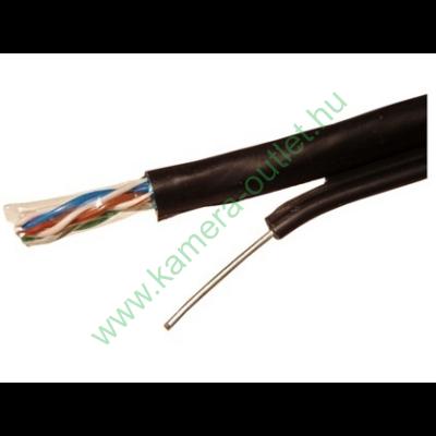 FTP kábel fali CAT5, kültéri időjárásálló, UV álló, acél feszítőszállal 100m-es tekercsben