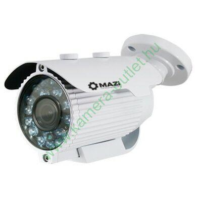 MAZI TWE-11VR 1MPixel Kültéri cső kamera, Smart IR, TVI és Analóg rögzítőkhöz is! 2.8-12mm(92,6-27,4°), 24-30m IR táv (36db), IP66, 2 év gar.